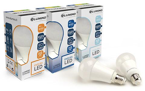 Packaging LED Elumino Endura présentant les différentes températures de couleurs